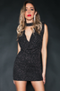 Starry Night Sparkle Plunging Cowl Neck Dress