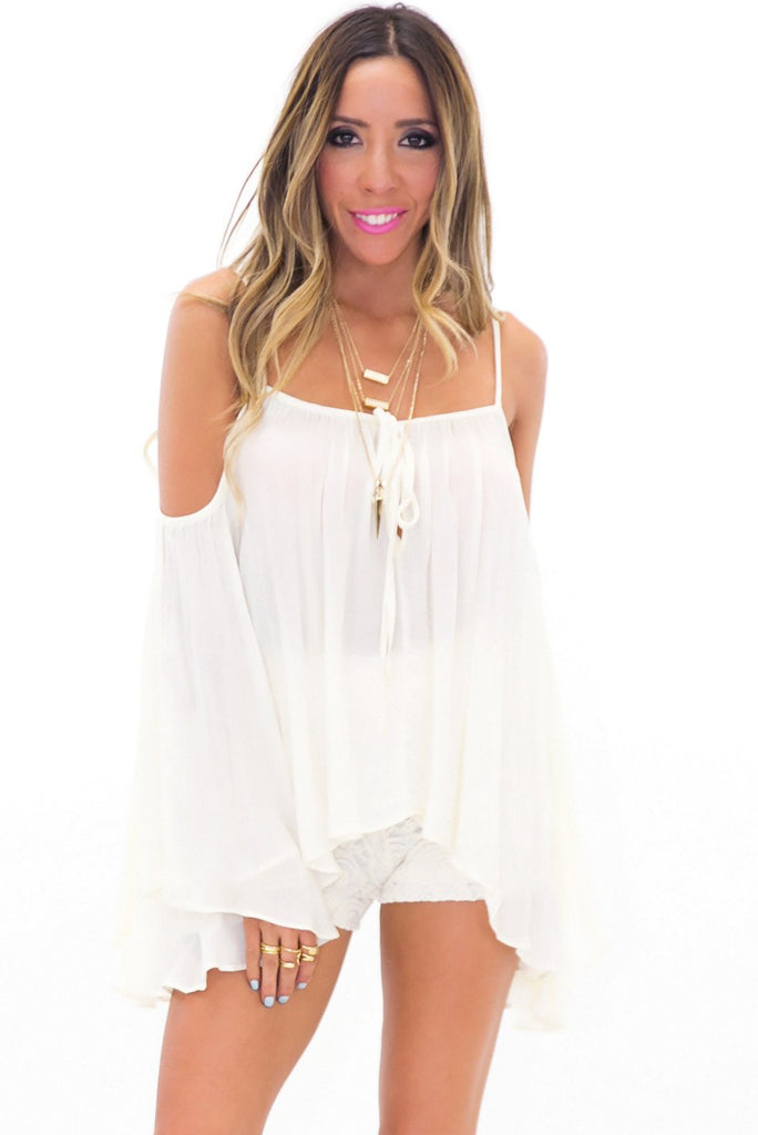 ADELLE OFF SHOULDER BELL SLEEVE TOP - Ivory