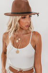 Braided Tassel Hat - Brown