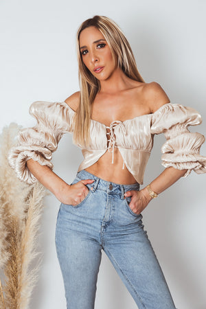 Satin Tiered Puff Sleeve Top