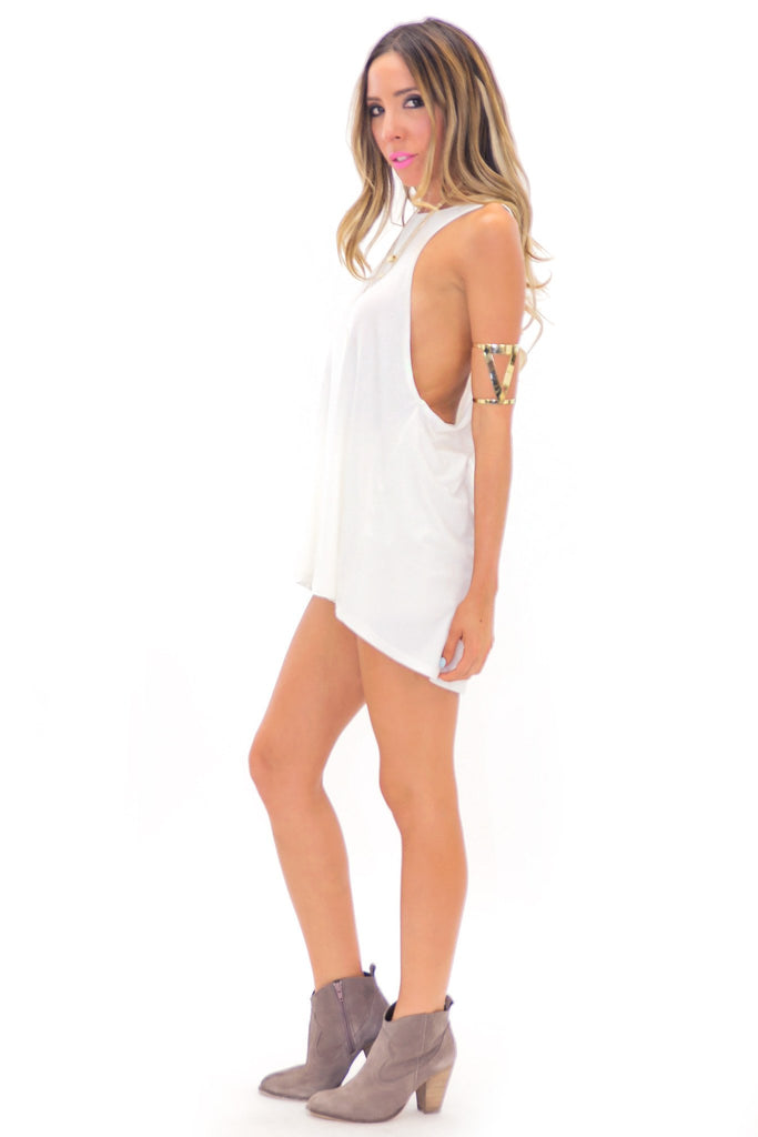 LAIN HIGH NECK MUSCLE TANK - White