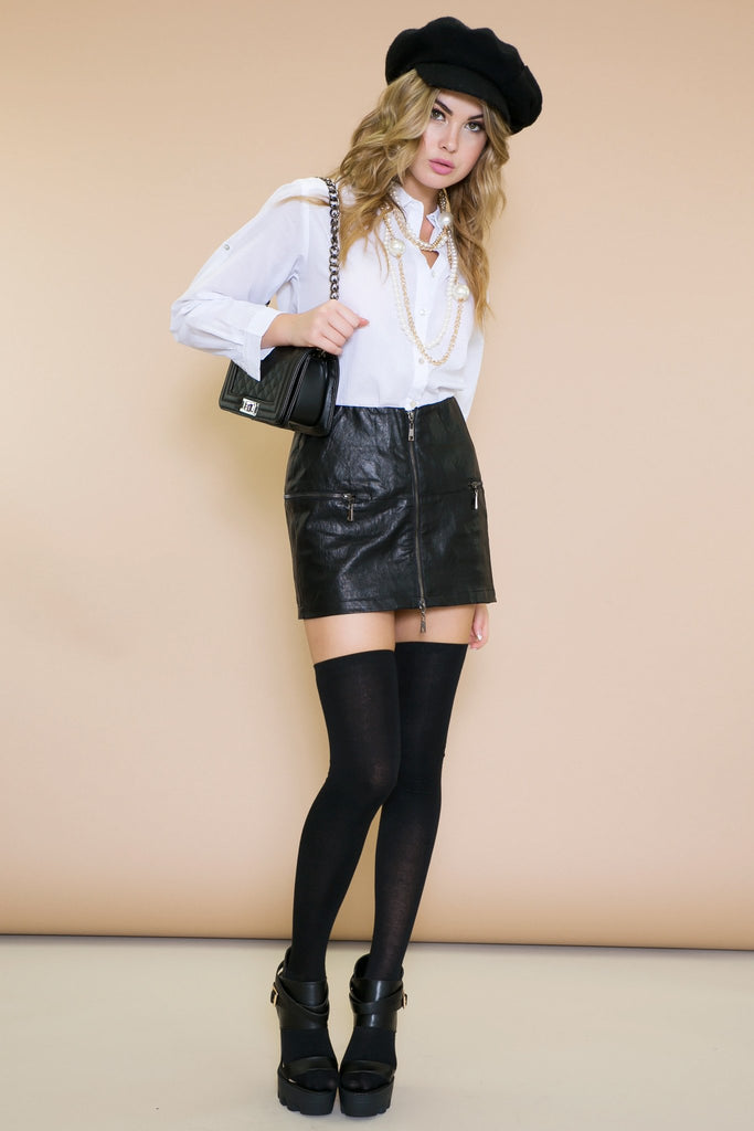 Blively Zipper Leather Skirt