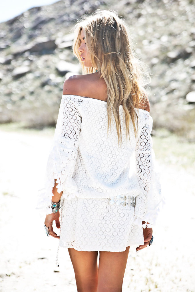 Lahna Pom-Pom Fringe Lace Dress
