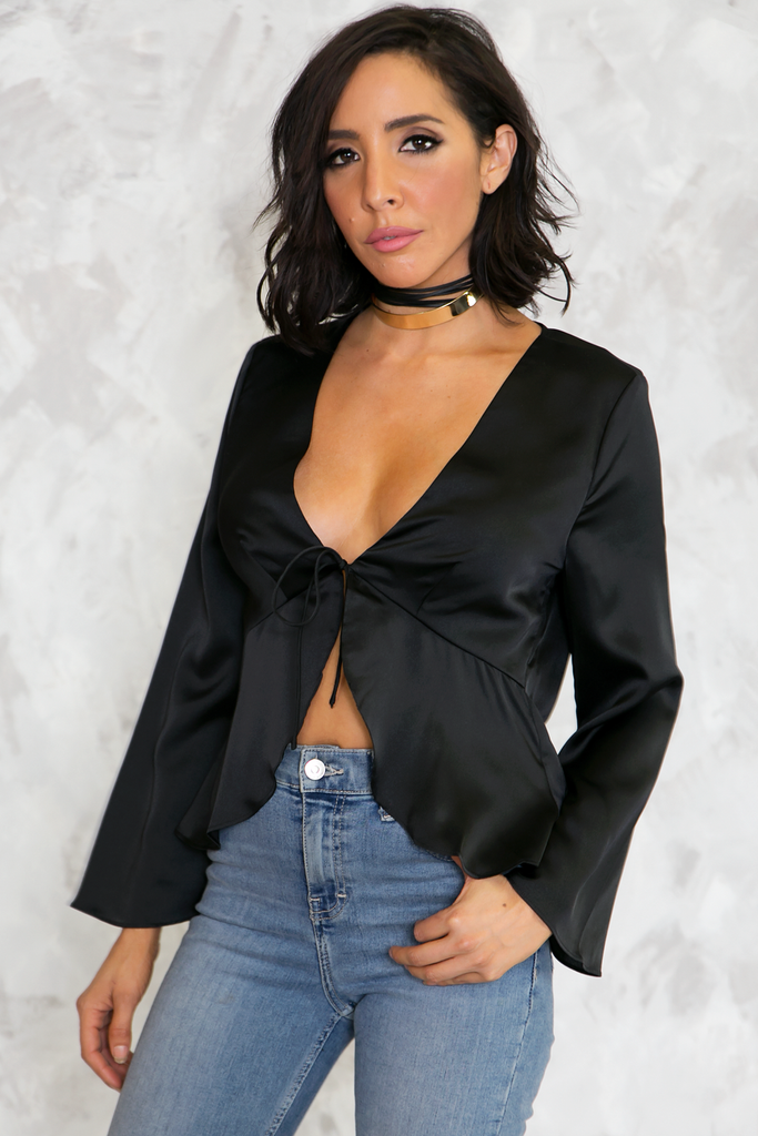All I See Tie-Front Satin Top