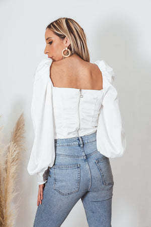 Satin Button-Up Long Sleeve Top