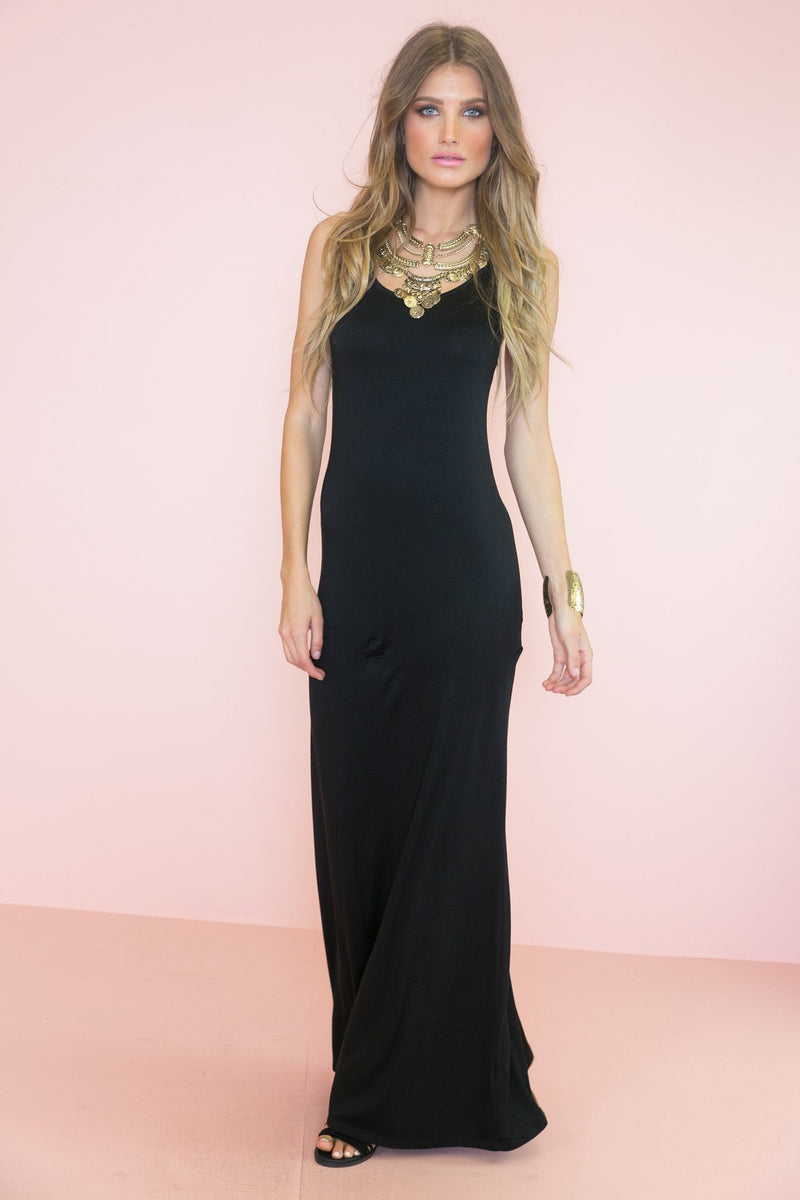 Basic Jersey Maxi Dress - Black - Haute & Rebellious