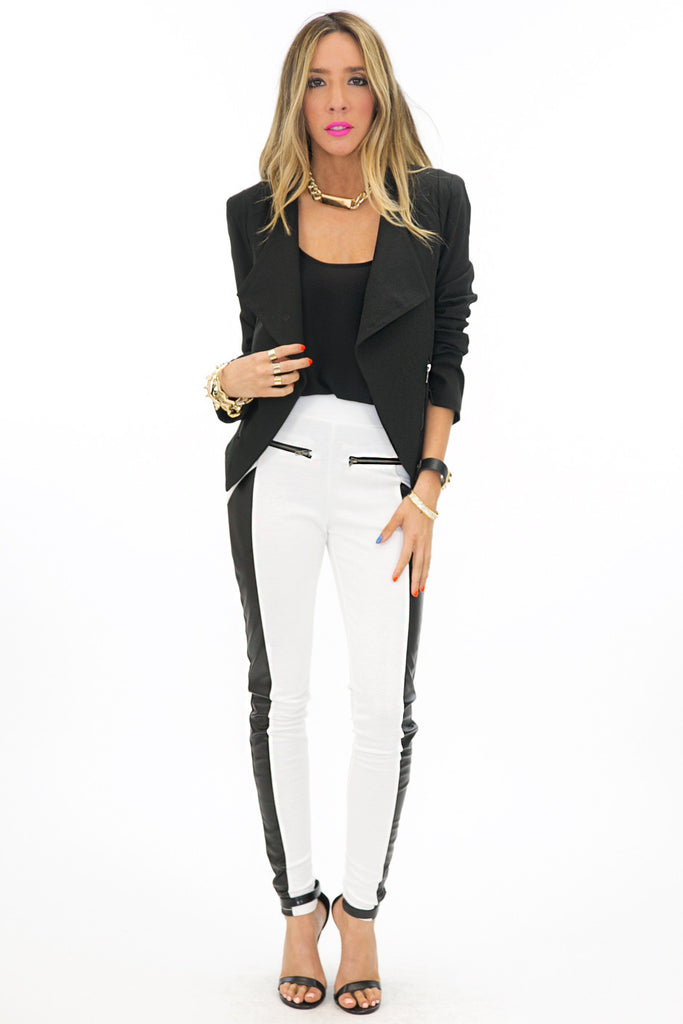 TWO TONE ZIPPER TROUSER - White/Black