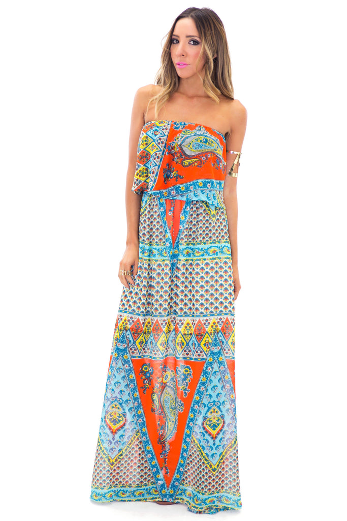 PAIGE PAISLEY PRINT MAXI DRESS