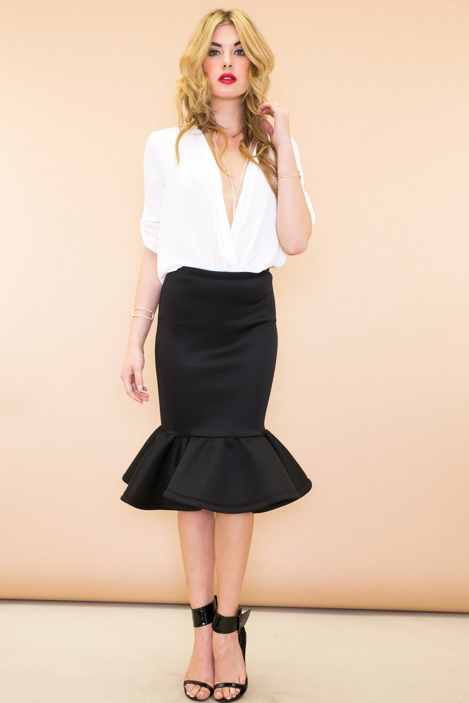 Caro Pencil Ruffle Skirt - Black
