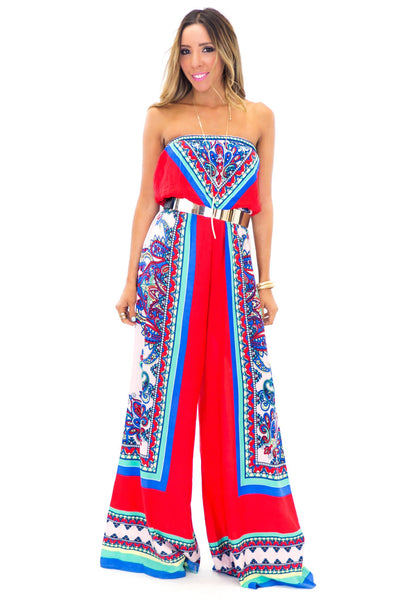 AGUAS CALIENTES JUMPSUIT - Red