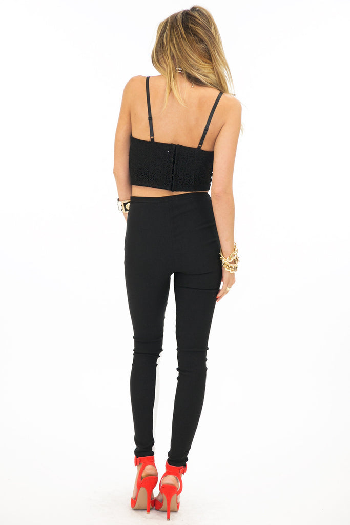 TWO-TONE SKINNY TROUSER - Black/White