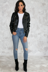 Cool Kids Faux Leather Moto Jacket - Haute & Rebellious