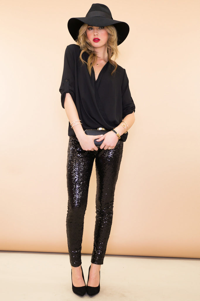 Sequined Legging Pant - Black