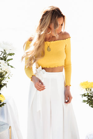 Off-Shoulder Ribbed Crop Top - Mustard