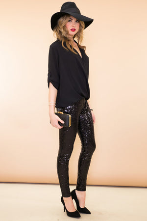 Sequined Legging Pant - Black - Haute & Rebellious