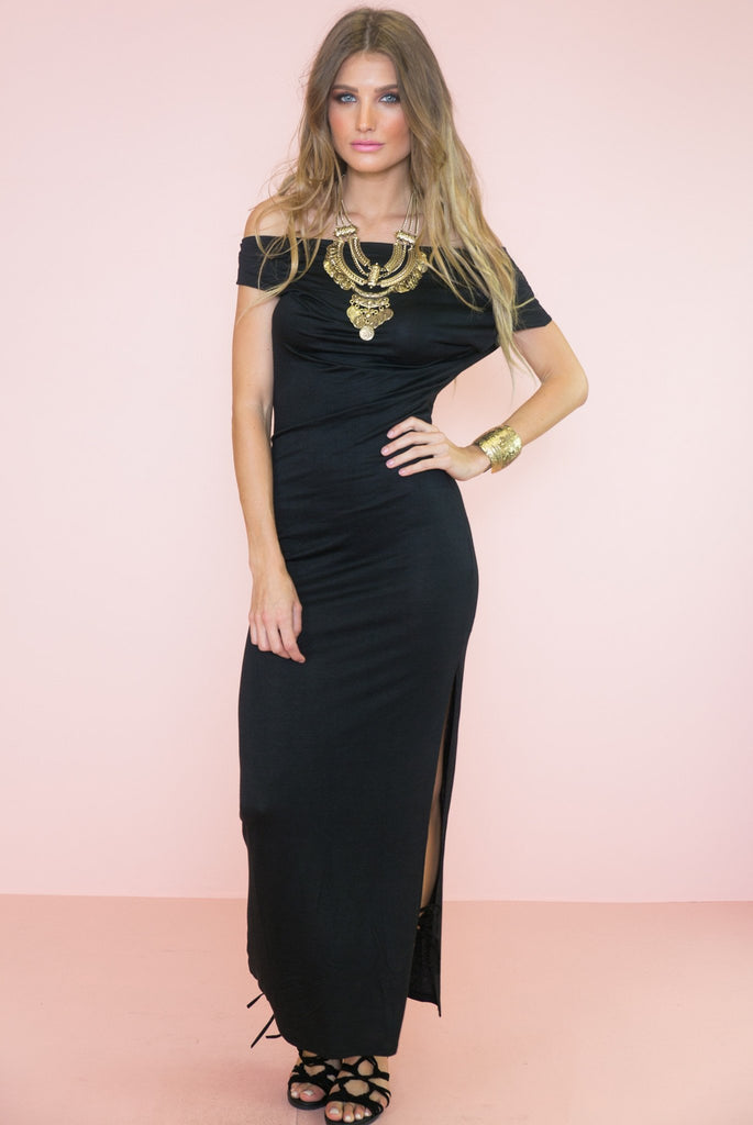 Alice Draped Off The Shoulder Maxi Dress