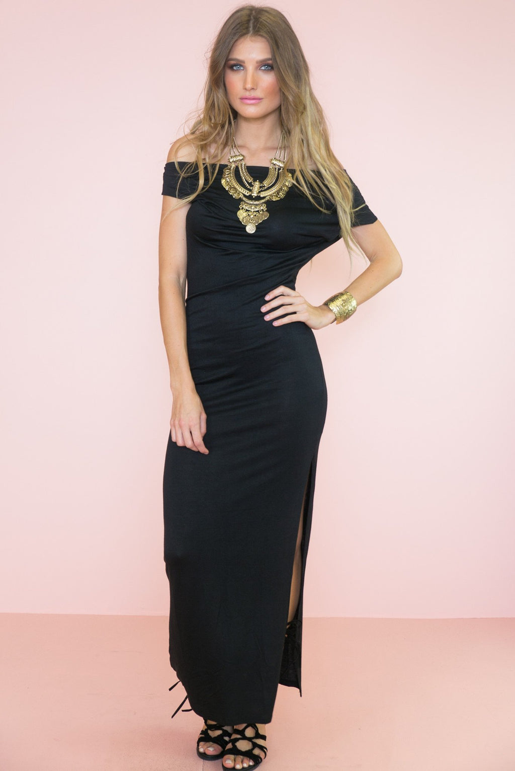 Avery Jersey Off-Shoulder Maxi - Haute & Rebellious