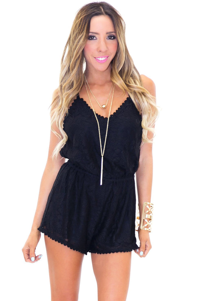 BRIT OPEN BACK LACE ROMPER - Black