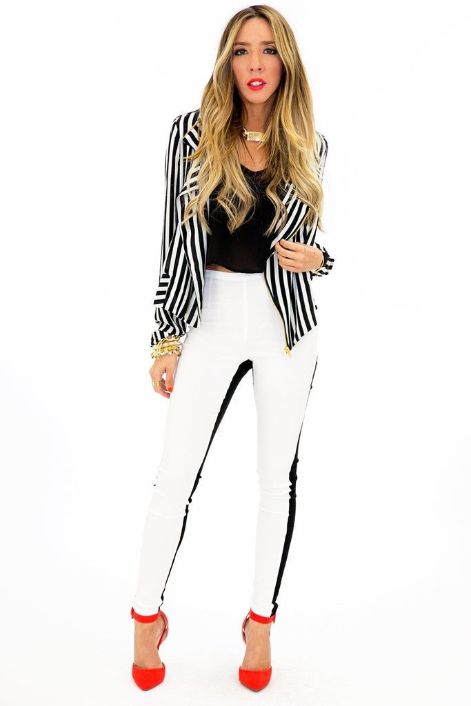 GOLD ZIPPER VERTICAL STRIPE JACKET