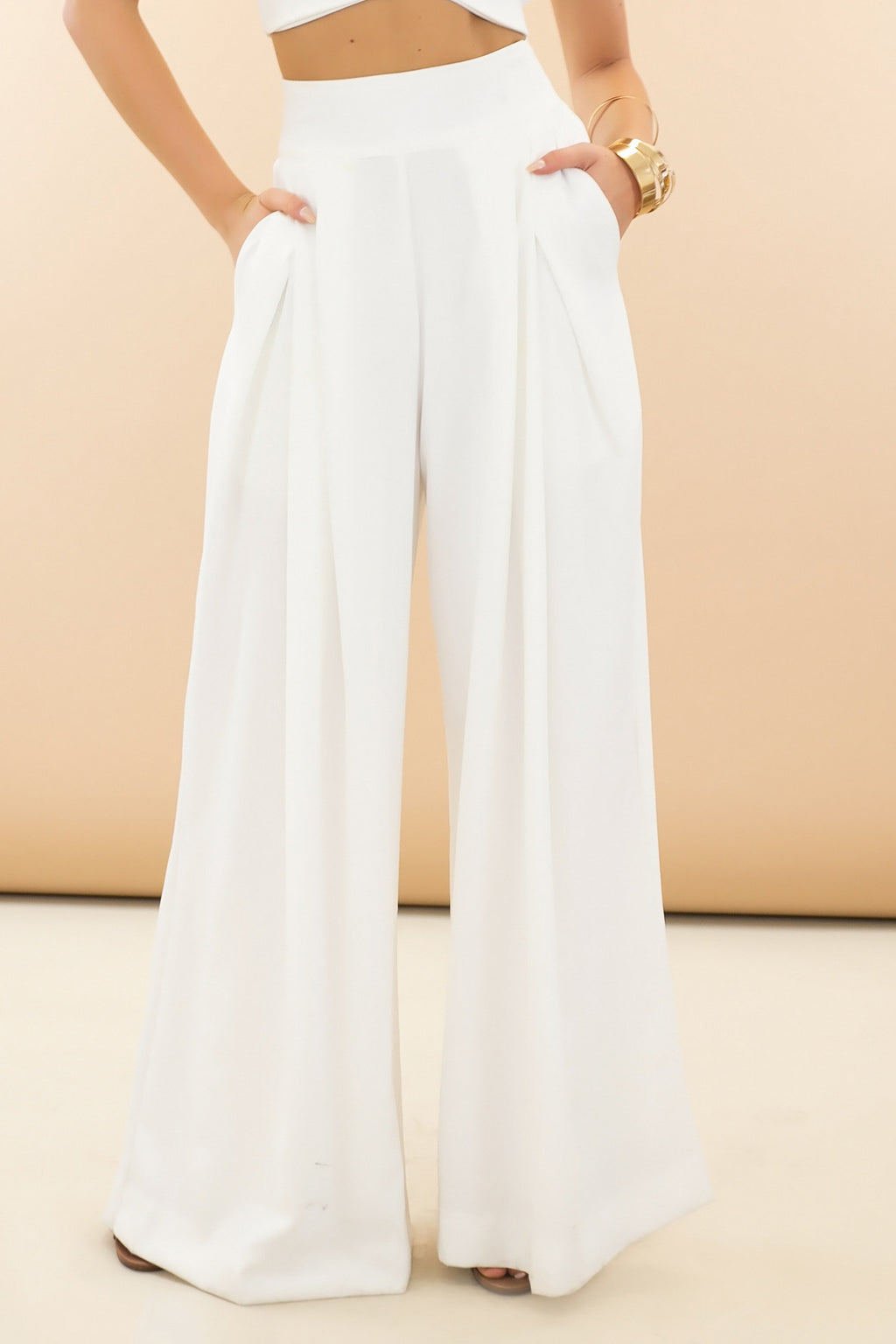 Raya High-Waisted Wide-Leg Pant - White [PRE-ORDER] - Haute & Rebellious