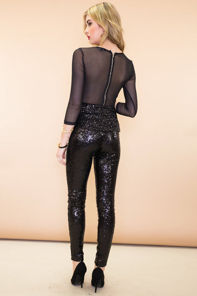Mirabelle Peplum Sequin Top - Black - Haute & Rebellious