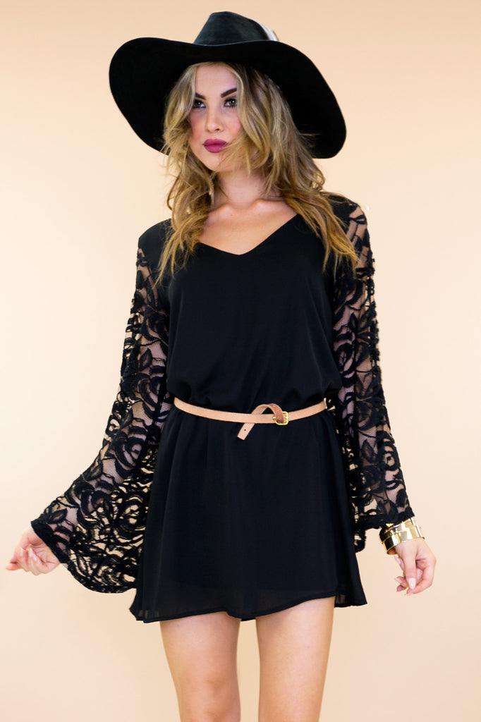 Willow Lace Bell Sleeve Dress - Black