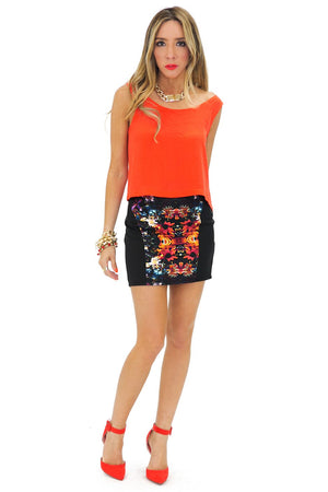 MIRROR PRINT MINI SKIRT - Red - Haute & Rebellious