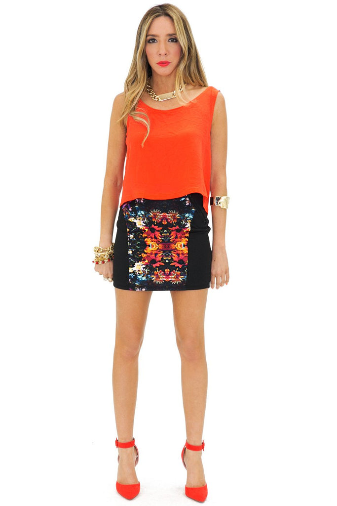 MIRROR PRINT MINI SKIRT - Red