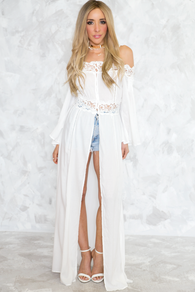 Slit Maxi Robe Top - White