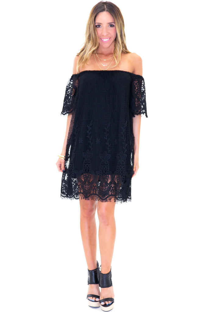 PLAYA BLANCA LACE DRESS - Black