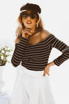 Off-Shoulder Striped Long Sleeve Top - Black