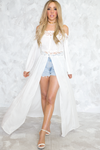 Slit Maxi Robe Top - White /// ONLY 1-M LEFT/// - Haute & Rebellious