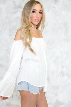 Off-Shoulder Bell-Sleeve Top - White - Haute & Rebellious