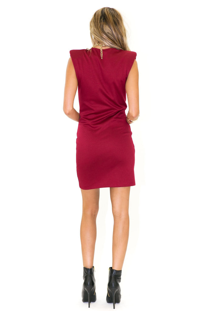BRISTOL SHOULDER PADDED DRESS - Maroon