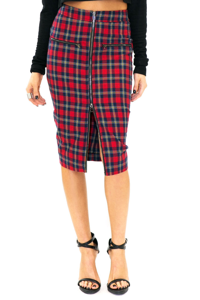 CADEN PLAID PENCIL SKIRT