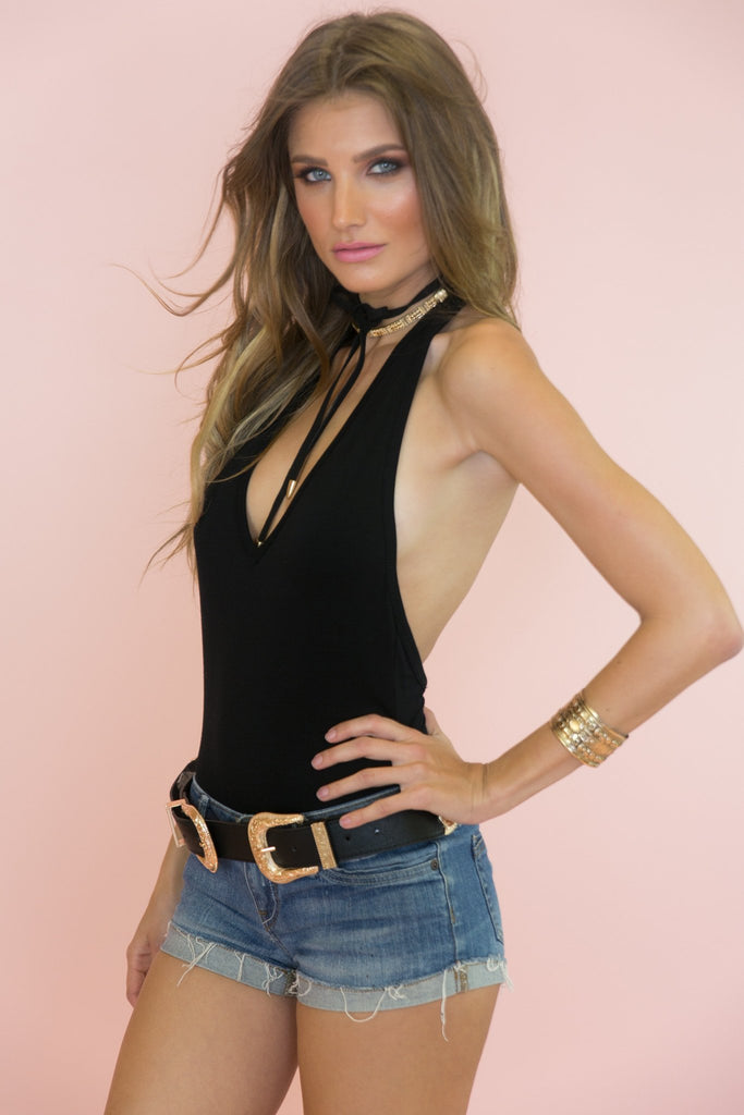 Danica V-Neck Bodysuit - Black
