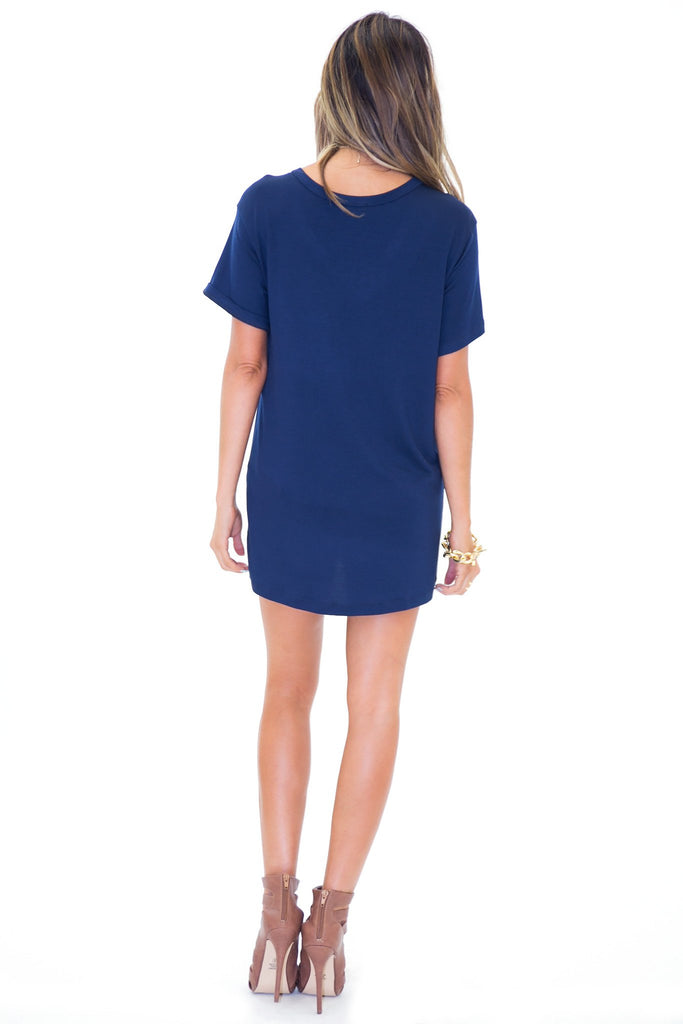 JAY POCKET BOYFRIEND JERSEY V-NECK TEE - Navy