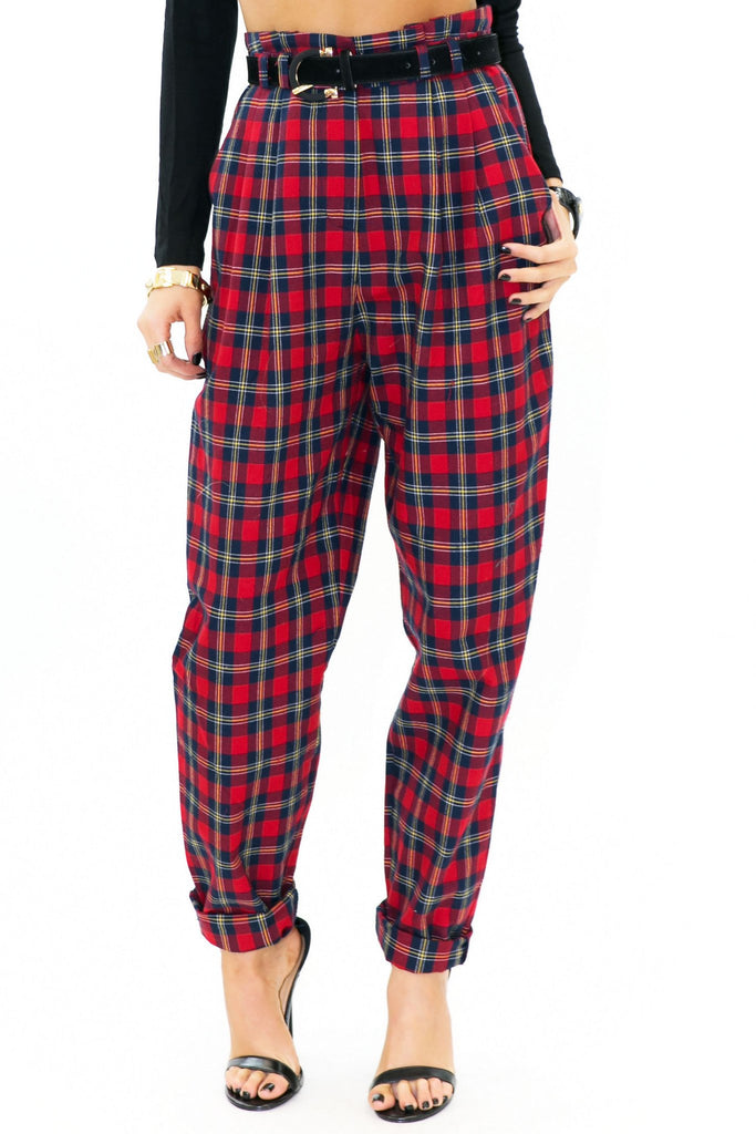 CADEN HIGH-WAISTED PLAID PANT