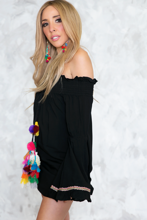 Pom-Pom Off-The-Shoulder Dress - Haute & Rebellious