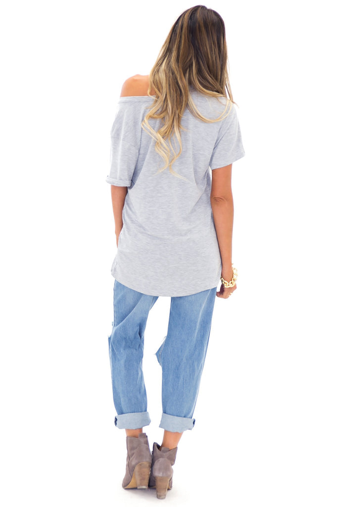JAY POCKET BOYFRIEND JERSEY V-NECK TEE - Grey