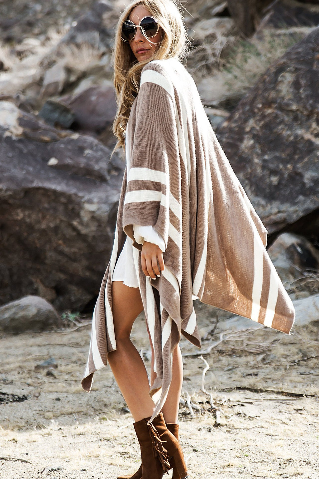 Amaris Striped Cover Up - Khaki - Haute & Rebellious