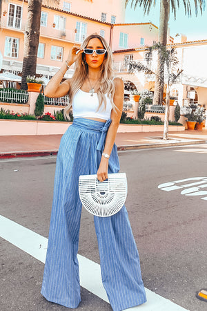 Striped Chambray Palazzo Pant with Tie Waist