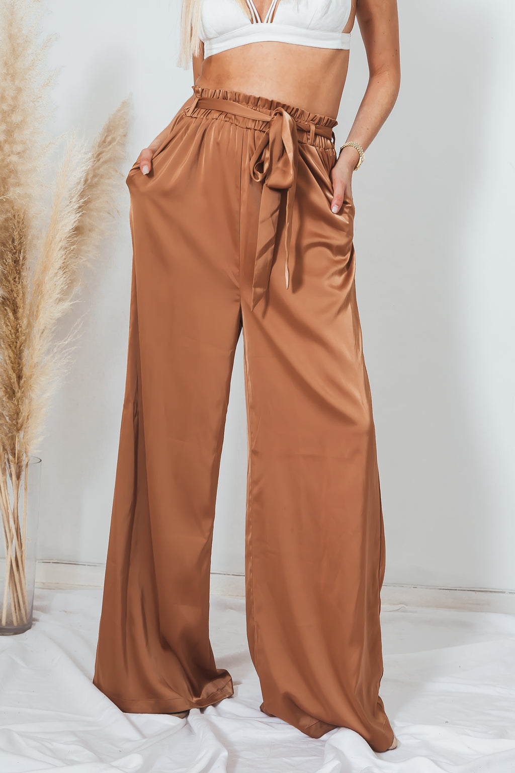 Satin Palazzo Pant with Belt - Bronze