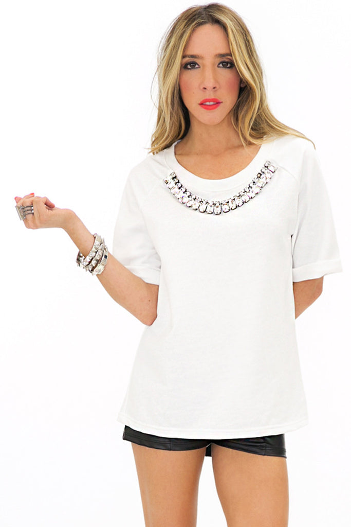 RHINESTONE COLLAR SWEATER TOP