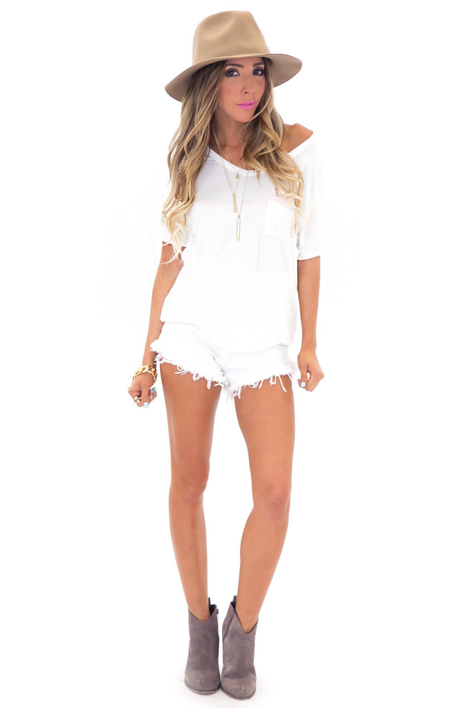 JAY POCKET BOYFRIEND JERSEY V-NECK TEE - White - Haute & Rebellious