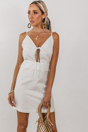 Linen Mini Dress with Keyhole Detail /// Only 1-L Left ///