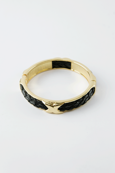 Braided Leather Gold Trim Bangle