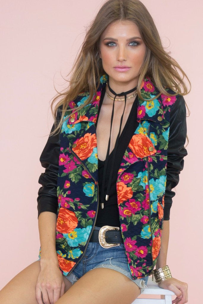 Industrial Floral Moto Jacket - Haute & Rebellious