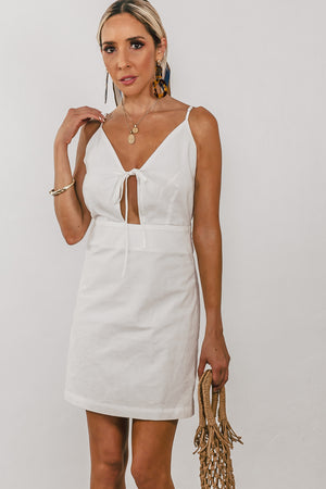 Linen Mini Dress with Keyhole Detail