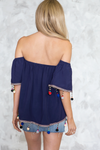 Off-Shoulder Pom-Pom Trim Top - Haute & Rebellious